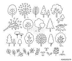 木や葉手描きペン画fotoliacom の ストック画像とロイヤリティフリーの