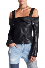 image of bcbg napa faux leather off the shoulder moto top