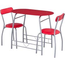 miami red glass dining table and 2 chairs breakfast set