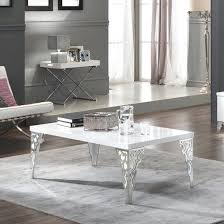 white and chrome coffee table hazel coffee table rectangular in white gloss with chrome legs 1 white and chrome coffee table