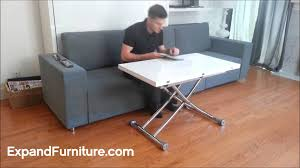transforming apartment demo wall bed sofa and white gloss transforming table you