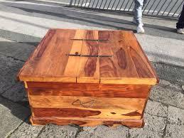 jali sheesham large square trunk coffee table mango wood metal handles