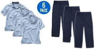 Shirts With Pants Wholesale Youth School Uniform Combo Pack 3 Light Blue Shirts 3 Navy Pants