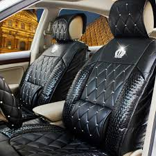 automobile diamond rhinestone crown jushi cushion four seasons general purpose vehicle leather car seat cover set for full chartered pad with