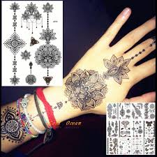25 стили черные чернила хна временные татуировки наклейки поддельные цветочные