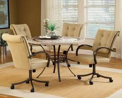 image of upholstered dining room chairs with casters