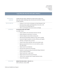 service electrician resume electrician helper resume samples tips and templates online resume builders