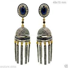 14k yellow gold sapphire chandelier earrings diamond pave 925 sterling silver whole