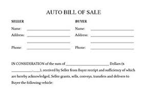 automobile bill of sale as is bill of sale form