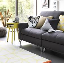 Yellow and grey furniture Yellow Turquoise Grey Sofa With Yellow Habitat Side Table And Yellow Cushions Argos Grey Furniture And Accessories Argos