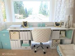 Home office on a budget Diy Tiffany Blue Home Office Pretty Home Office Makeover Home Office Remodel Budget Friendly Party Pinching Tiffany Blue Home Office Makeover Gold Accents Pretty Office On