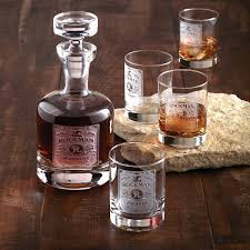 whiskey label decanter and glasses set preparing zoom