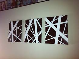 Diy Canvas Painting Easy Diy Abstract Art 3 Different Sized Tape Over White Canvas