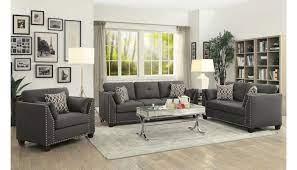 caleb grey linen sofa with nailhead trim
