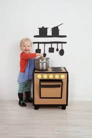 some are as simple as cleverly dressing up old cardboard boxes or furniture like a stool or night stand while others range to the more elaborate mini chef