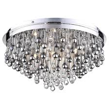 teardrop crystal flush ceiling light chrome fast free delivery