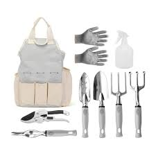 9pcs planting garden tools set pruning shears work gloves with tool storage bag cod