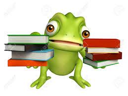 3d rendered ilration of chameleon cartoon character with book stack stock ilration 53996380
