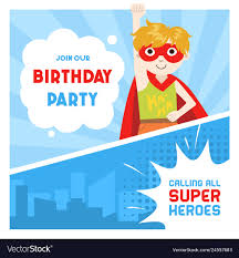 Birthday Boy Banner Design Superhero Birthday Party Banner Cute Boy In