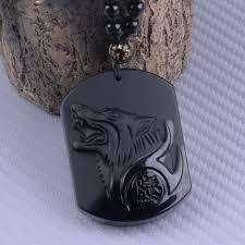 details about unique natural obsidian black wolf head pendant necklace