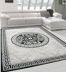 grey oriental rug black border pattern silver glitter carpet mat living room xl