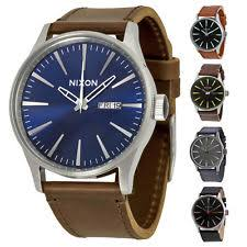 mens nixon watches nixon sentry leather strap mens watch