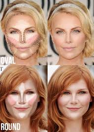 an oval or round shaped face contour and highlight