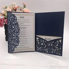 Hot Sale Navy Blue Laser Cut Wedding Invitations Cards 2018 New Design Wedding Invitation Personalized Bridal Invitation Card Cheap Royal Wedding