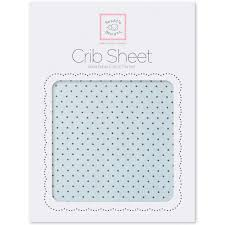 Flannel Fitted Crib Sheet Brown Polka Dots Pastel Blue