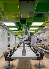 office ceiling design. green boxes cover the ceiling of clip hair salon by sweco architects office design s