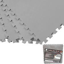 gray 128 sqft exercise play foam gym floor flooring mat interlocking puzzle mats 0