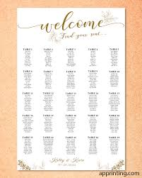 Gold And Black Wedding Seating Charts