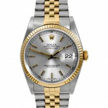mens used two tone datejusts rolex watches for swiss wrist pre owned rolex mens datejust two tone watch silver stick dial fluted bezel