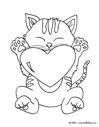 Small Picture Cat with heart coloring pages Hellokidscom