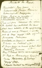 what did charles darwin see his handwritten reading list darwin diary books to be read