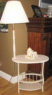 Side Table With Light Attached Refinished Side Table With Attached Lamp And Magazine Rack