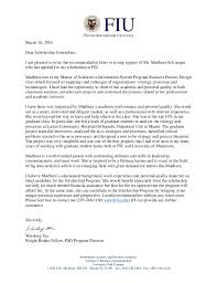 Scholarship Letter Of Recommendation From Professor