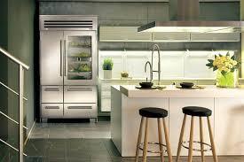 glass front fridge. Stunning And Sleek Kitchen With Glass Front Refrigerator Fridge