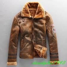 details about mens sheepskin leather jacket lamb fur lined motor biker coat outwear vintage sz