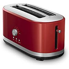 kitchenaid toaster. kitchenaid kmt4116er 4 slice long slot toaster with high lift lever, empire red kitchenaid