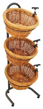 3 tier basket display produce rack vegetable stand w sign clip wicker baskets