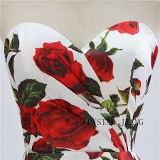 Sweet Heart Rose Size Chart Discount Wholesale High Quality 2018 Sweetheart Rose Floral Printed Satin A Line Zipper Back Fashion Bridal Wedding Dresses Aline Dresses Aline