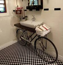 image unique bathroom. Marvelous Design Of The Bike Unique Bathroom Vanities With White Sink And Wooden Image