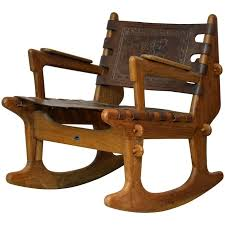 mid century modern ecuadorian wood and leather rocking chair by angel pazmino for