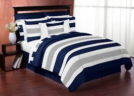 navy blue twin quilt. Wonderful Blue Navy Blue Gray And White Stripe 4pc Childrens Teen Boys Twin Bedding Set With Quilt A