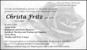 Traueranzeigen von Christa Fritz | www.trauerundgedenken.de