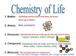 chemistry of life matter atoms elements pound molecule