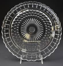 federal glass clear footed cake plate 11 375 round