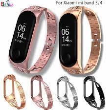 Neue Mi Band 4 Ersatz luxus smart watch band handgelenk Strap Edelstahl  Armband Armbänder Miband 3 /4 band + metall Fall|Uhrenbänder