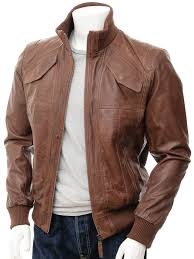 mens brown leather er jacket parma front